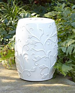 White Floral Garden Stool