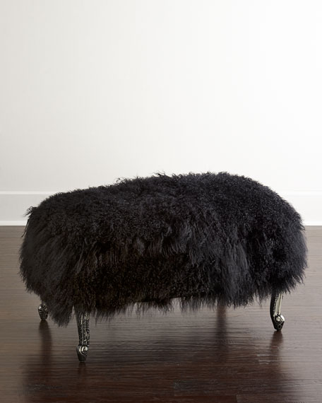 Worthen Noir Sheepskin Ottoman