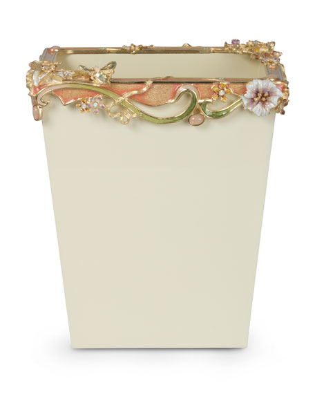 Devon Cream Floral Scroll Wastebasket