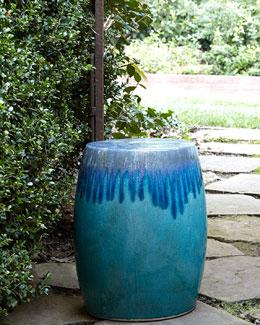 Blue Ombre Garden Stool
