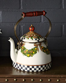 Mackenzie Childs Evergreen 2 Quart Tea Kettle