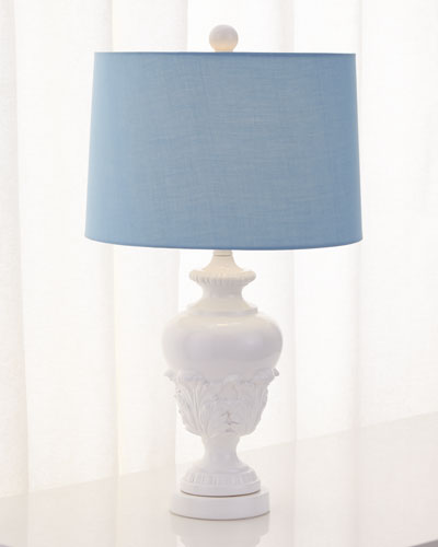 Acanthus Urn Lamp with Blue Shade