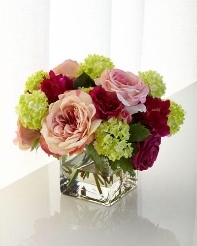 Pink Roses Faux-Floral Arrangement