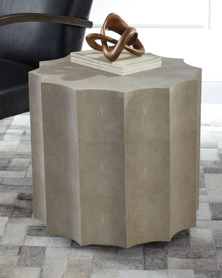 Marilyn Faux Shagreen Scalloped Side Table