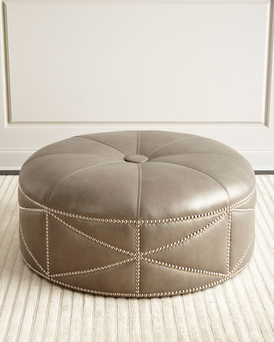 Hollander Leather Ottoman