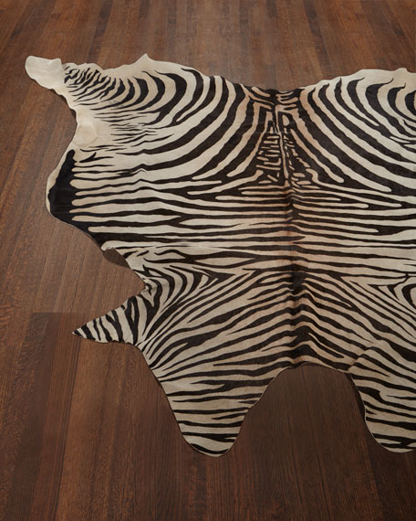 NourCouture Lux Zebra-Print Hairhide Rug, 6' x 7'