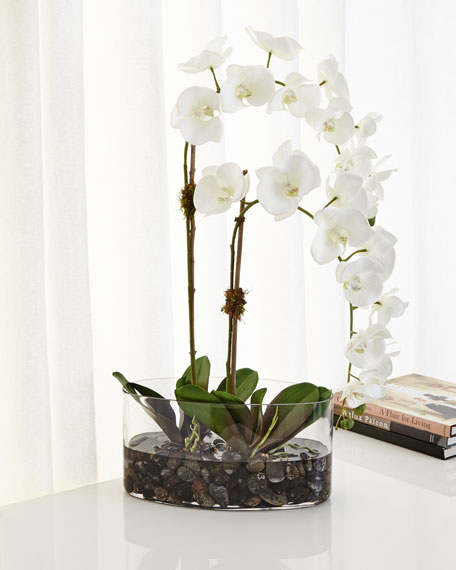 Ndi Orchids In Glass Faux Floral Arrangement