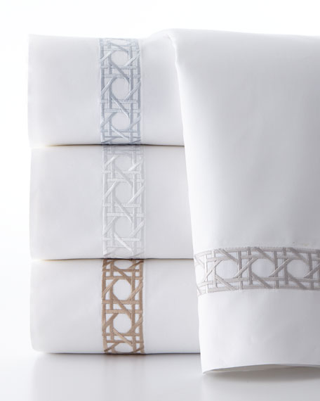 Queen 4-Piece Cane-Embroidered 400TC Sheet Set