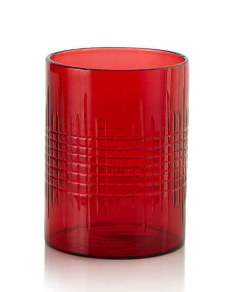 Medium Cut Glass Hurricane, Red