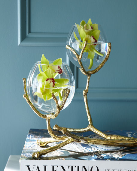 Twig Brass Two-Vase Holder