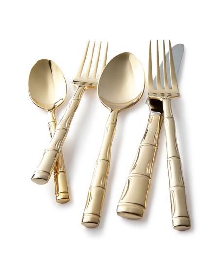 GOLD BAMBOO 20PC FLATWARE SE