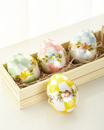 Pastel Medium Floral Eggs  Set of 4