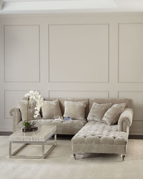 Divine Crushed Velvet Right-Chaise Sectional
