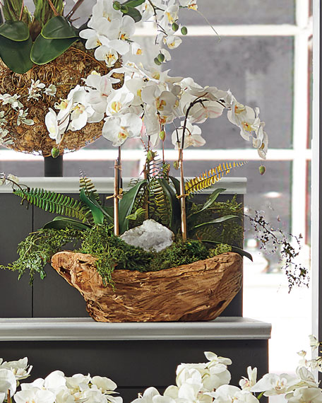 White Orchid Faux-Floral Arrangement in Wooden Bowl