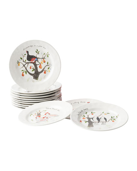Twelve Days of Christmas Cocktail Plate Set, Set