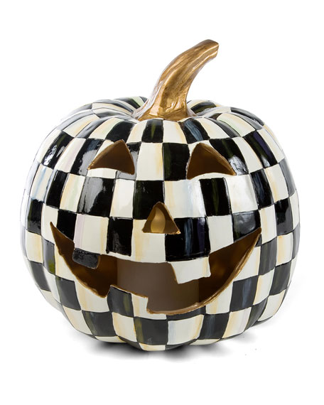 Courtly Check Illuminated Jack-O'-Lantern Halloween Decor