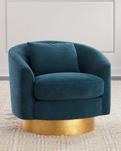 Peacock Velvet Swivel Chair