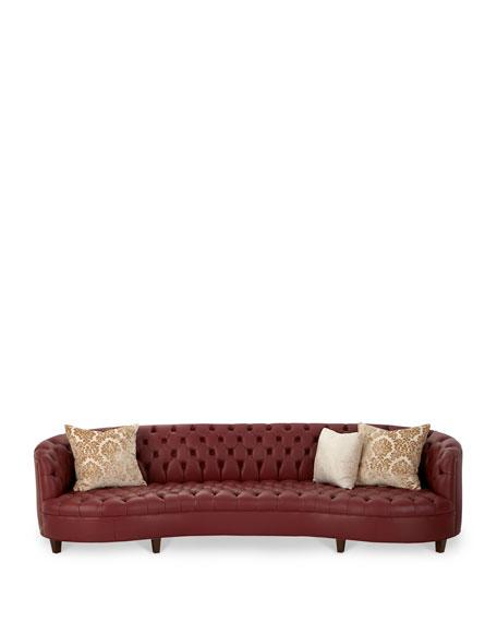 """Magnolia Oxblood Tufted Leather Sofa 126"""""""