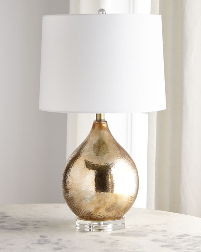Gold Hammered Glass Lamp