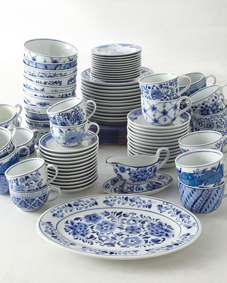 12 Traditional Dessert Plates : blue and white dinnerware set - pezcame.com