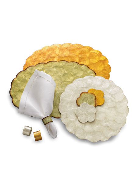 "Four 1.5""Dia. Capiz Shell Napkin Rings"