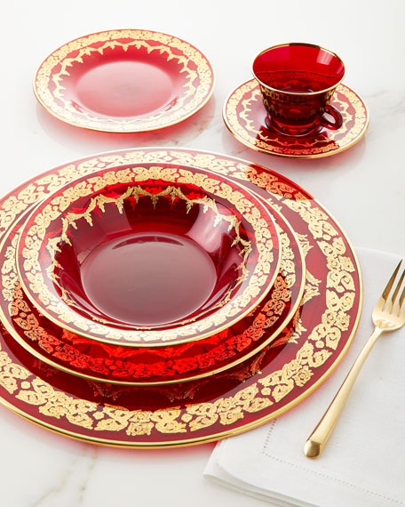 Red Oro Bello Soup Plate, Set of 4