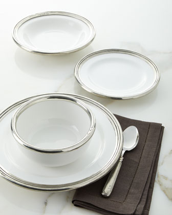 Pewter and Ceramic Dinner Plate  and Matching Items