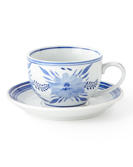 Set of 12 Assorted Blue & White 10-Ounce Cups & Saucers