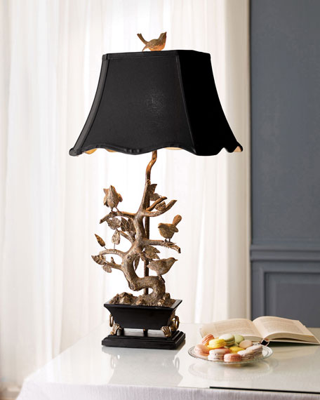 Brass bird on branch lamp