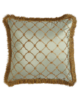 Tuscan Trellis Square Pillow with Brush Fringe  20Sq.