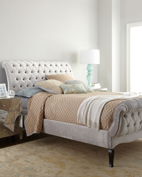 Silver Tufted California King Bed