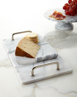 White Marble Cheese Board & Knife