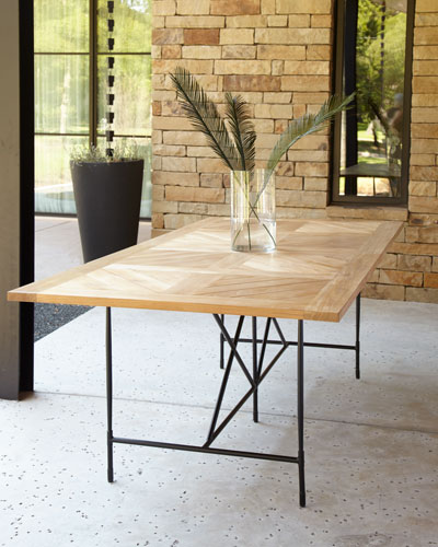 Avery Neoclassical 88L Outdoor Dining Table
