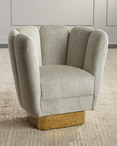 Interlude Home Gallery Brass Swivel Chair