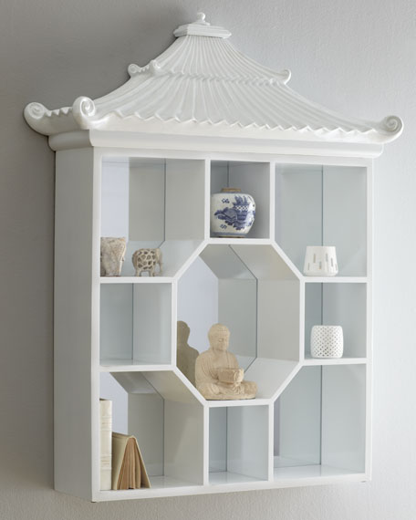 """White Pagoda"" Vitrine Wall Shelf"