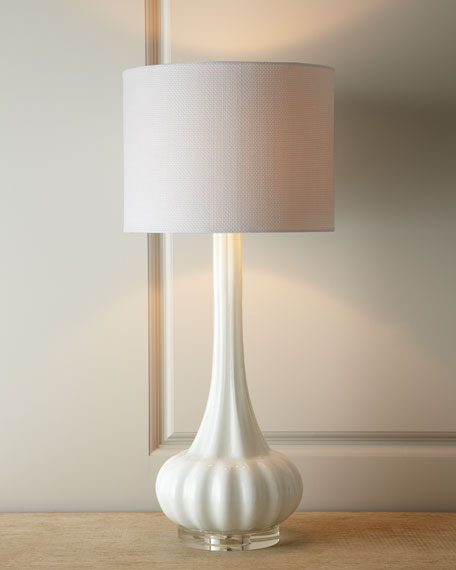 14 In Single Shade White And Silver Hanging Lamp Global: White Rippled Glass Lamp