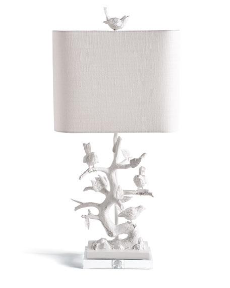 White Bird On Branch Lamp