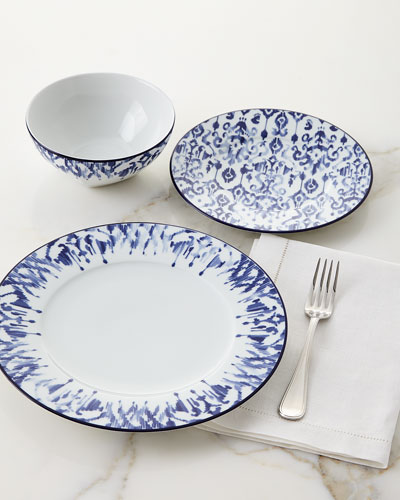 12-Piece Haryana Blue Rim Dinnerware Service