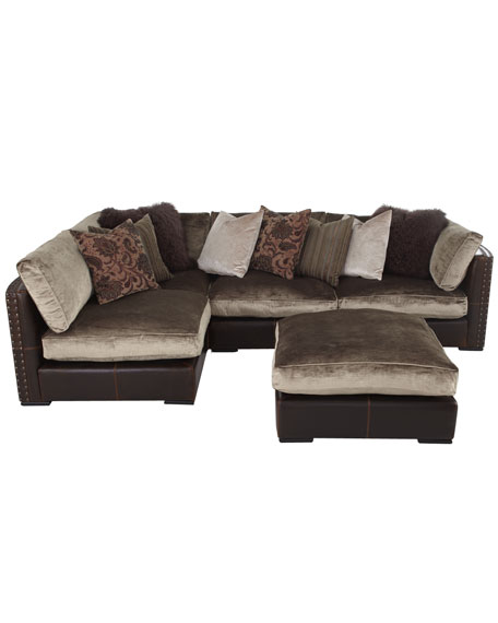 Chenille U0026 Leather Sectional Sofa, Five Piece Set
