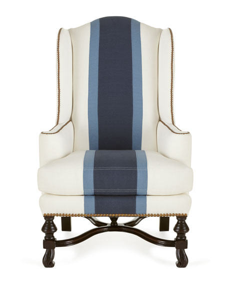 Massoud blue colorblock wing chair for Stores like horchow