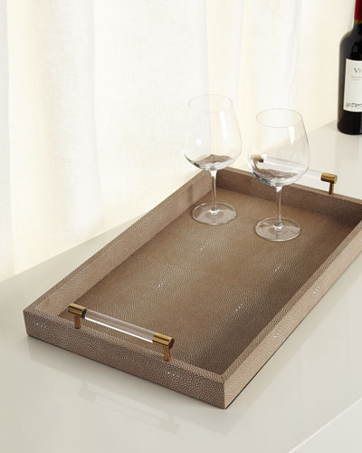 Taupe Faux-Shagreen Rectangular Tray