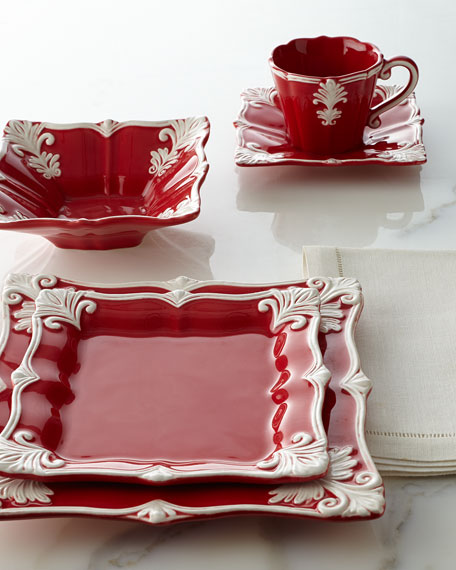 Four Square Baroque Cups & Saucers