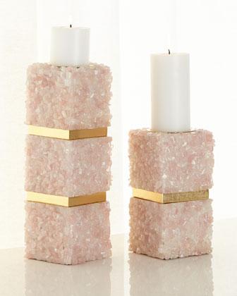 Pink Quartz Candleholders