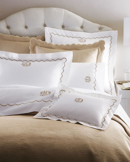Full/Queen Scallops Embroidered Duvet Cover