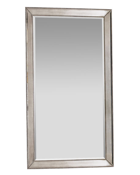 Antiqued-Silver Beaded Floor Mirror
