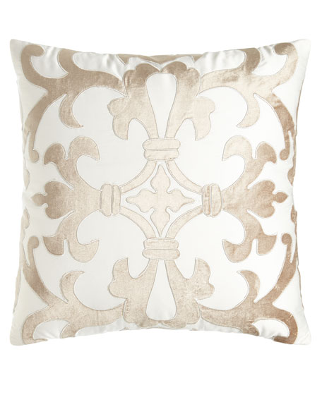 "Jackie Velvet Applique Pillow, 22""Sq."
