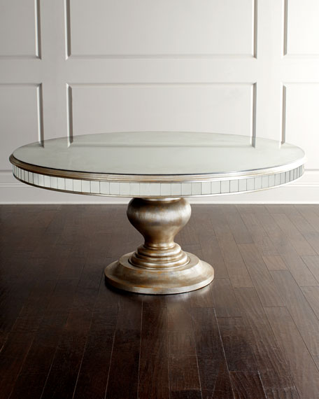 Lisandra Antiqued-Mirrored Round Dining Table