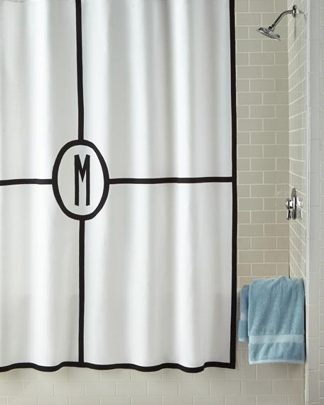 Matouk Parterre Monogrammed Shower Curtain