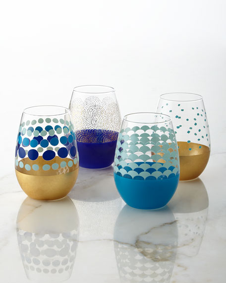 Dot Stemless Wine Glasses, 4-Piece Set