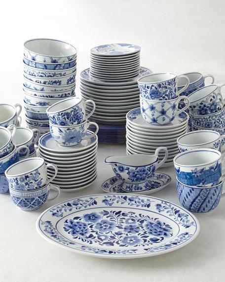 Set of 12 Assorted Blue & White Dinner Plates